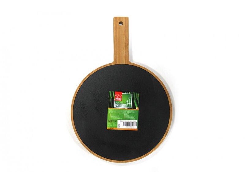 Снимка на Бамбукова дъска за сервиране - кръг с дръжка и слюда