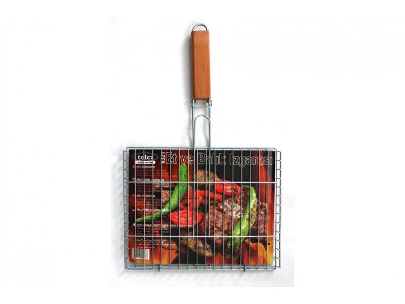 Снимка на Метална скара за печене с дървена дръжка