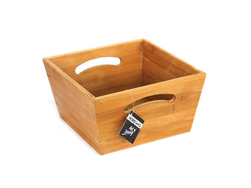 Снимка на Бамбукова квадратна купа с дръжки 24x24x12 см