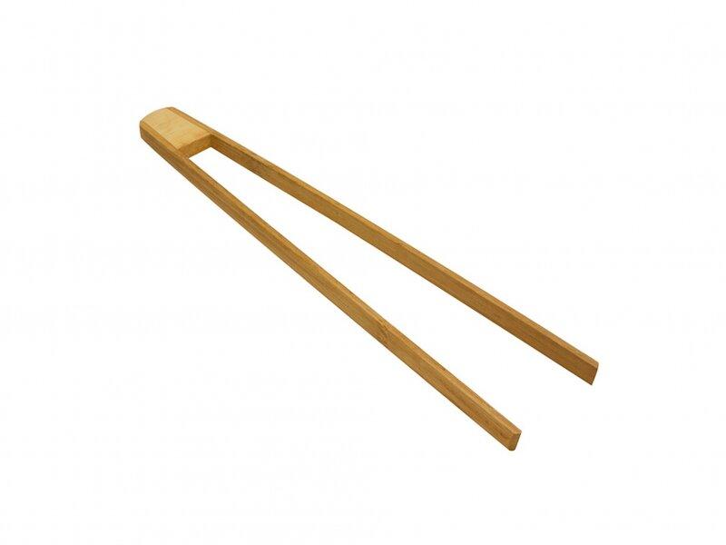 Снимка на Удобна бамбукова щипка за сервиране и барбекю