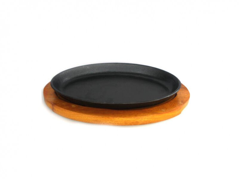 Снимка на Чугунен сач елипса с дървена подложка