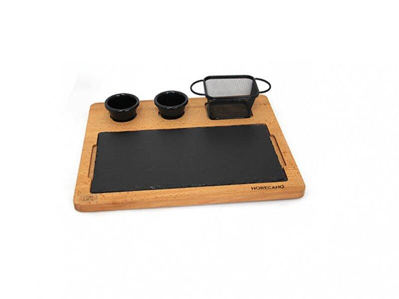 Снимка на Сет за сервиране с дъска, каменна плоча, 2 рамекина и кошничка