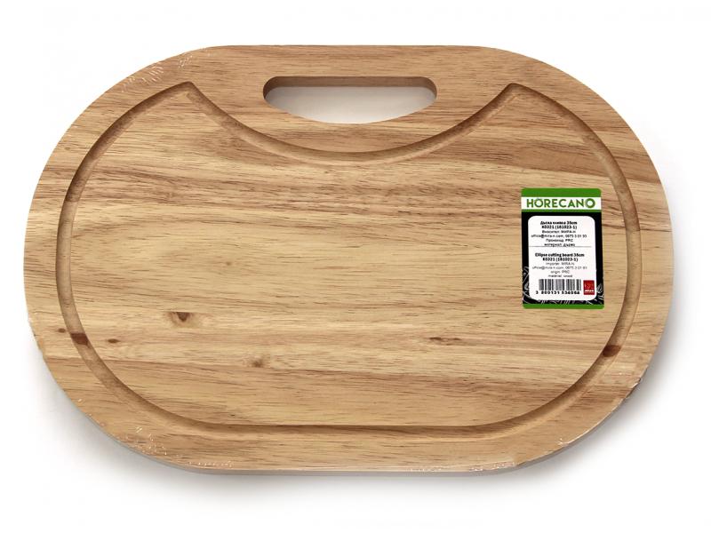 Снимка на Дървена дъска елипса за рязане и сервиране 38х26 см