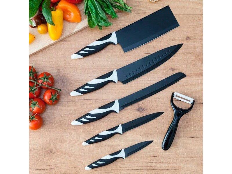 Снимка на Комплект 6 броя черни ножове в швейцарски стил