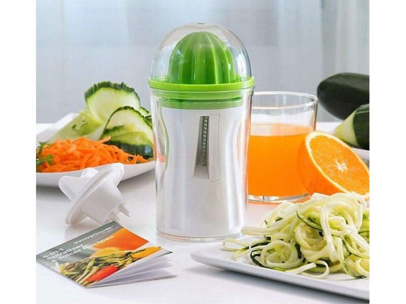 Снимка на Уред за зеленчуци и цитрус преса InnovaGoods с книга с рецепти