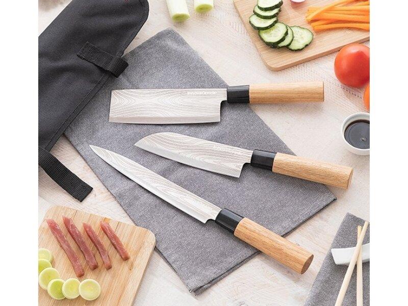 Снимка на Комплект от 3 японски ножа с калъф за носене