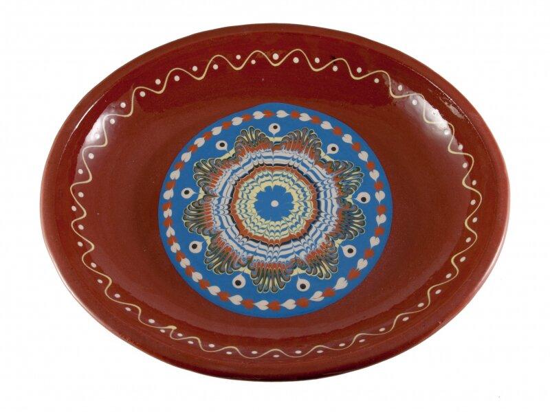 Снимка на Плитка керамична тава-елипса, ръчна изработка - 35см