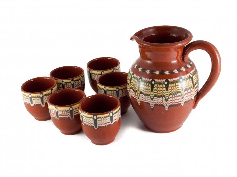 Снимка на Керамичен комплект за вино с 6 чаши и кана