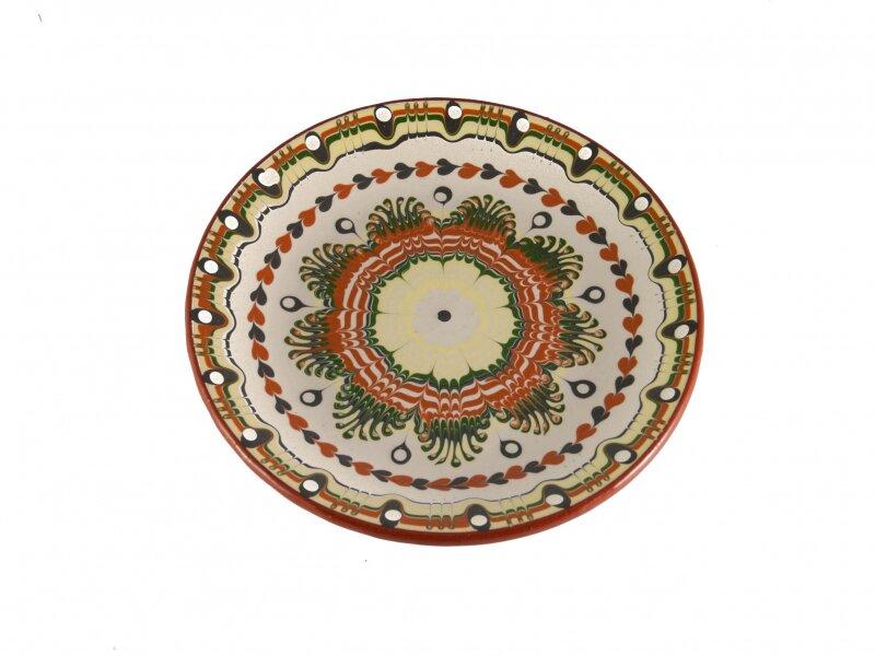 Снимка на Красива керамична чиния с различни цветове - 22 см