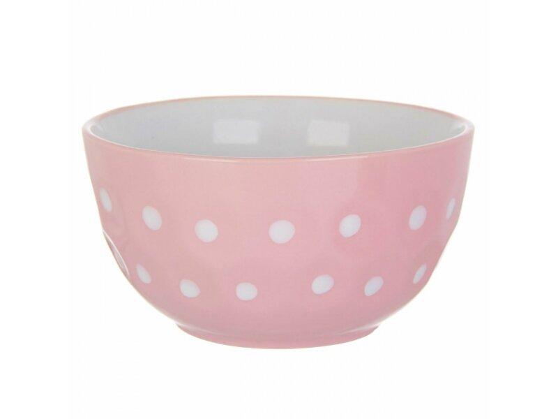 Снимка на Розова керамична купа на бели точки - 680мл