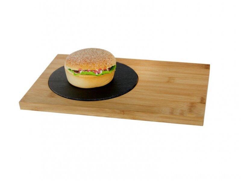 Снимка на Бамбукова дъска за сервиране с каменна плоча