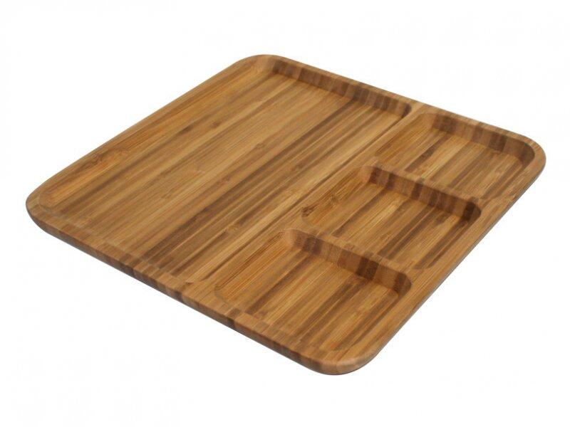 Снимка на Стилна бамбукова табла за сервиране с 4 отделения, 28см