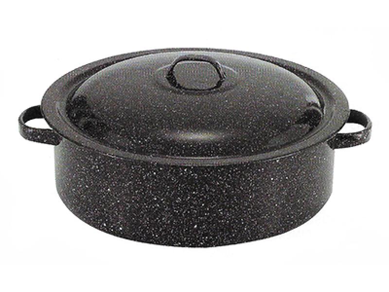 Снимка на Емайлирана дълбока тава с капак за агне и лютеница - 44x15 см